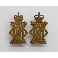 Pair of 13th/18th Royal Hussars Collar Badges - Queen's Crown