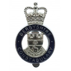Derbyshire Constabulary Enamelled Cap Badge - Queen's Crown