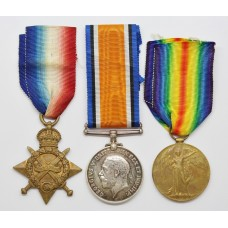 WW1 1914-15 Star, British War and Victory Medal Trio - A.W.O.II W. Morley. Notts & Derby Regiment (Sherwood Foresters)