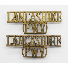 Pair of Lancashire Regiment (LANCASHIRE/PWV) Shoulder Titles
