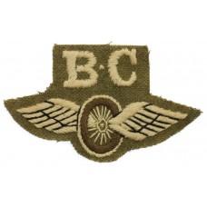 British Army Bren Carrier (B.C.) Winged Wheel Cloth Proficiency Arm Badge