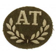 British Army Anti-Tank Gun Layer (A.T.) Cloth Proficiency Arm Badge
