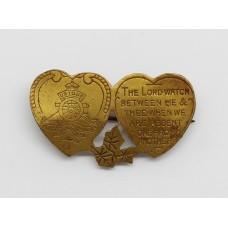 Royal Artillery Mizpah Hearts Sweetheart Brooch - King's Crown