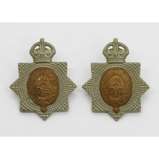 Pair of 1st King's Dragoon Guards Collar Badges  King's Crown