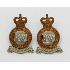 Pair of 4th Queen's Own Hussars Collar Badges - Queen's Crown