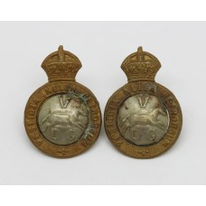 Pair of 5th Dragoon Guards Collar Badges - King's Crown