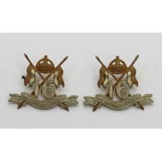 Pair of 16th/5th The Queen's Lancers Collar Badges - King's Crown