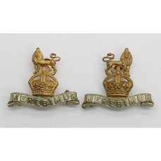 Pair of 15th/19th Hussars Collar Badges - King's Crown