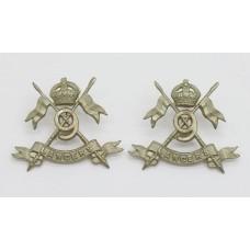 Pair of 9th Lancers Collar Badges - King's Crown