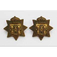 Pair of Victorian East Surrey Regiment Collar Badges