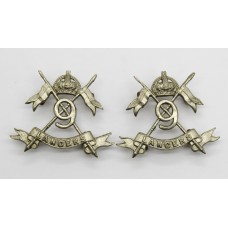 Pair of 9th Lancers Collar Badges - King's Crown