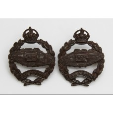 Pair of Royal Tank Regiment Officer's Service Dress Collar Badges - King's Crown