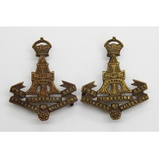 Pair of Yorkshire Regiment (Green Howards) Officer's Service Dress Collar Badges