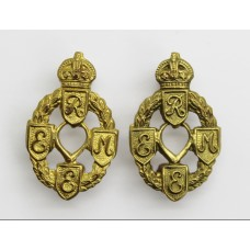 Pair of Royal Electrical & Mechanical Engineers (R.E.M.E.) Collar Badges - King's Crown (1st Pattern)
