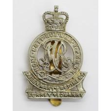 Surrey Yeomanry (Queen Mary's Regiment) Cap Badge - Queen's Crown