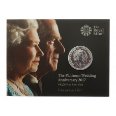Royal Mint 2017 United Kingdom Brilliant Uncirculated Fine Silver £20 Coin - The Platinum Wedding Anniversary