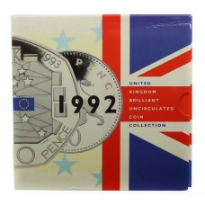 Royal Mint 1992 United Kingdom Brilliant Uncirculated Coin Collection with Rare Single European Market 50p Coin