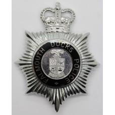 Falmouth Docks Police Enamelled Helmet Plate - Queens Crown