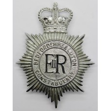 Bedfordshire & Luton Constabulary Helmet Plate - Queens Crown
