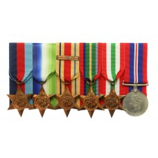 WW2 Merchant Navy Medal Group of Six with Box of Issue & Enti