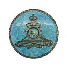 Royal Artillery Silver & Guilloche Enamel Sweetheart Brooch
