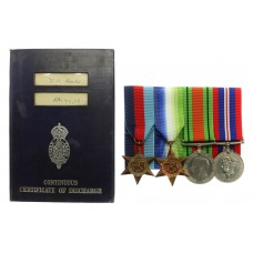 WW2 Merchant Navy Medal Group of Four with Continuous Certificate of Discharge - 3rd Eng. T.A. Dale, M.V. Vancouver City, Merchant Navy