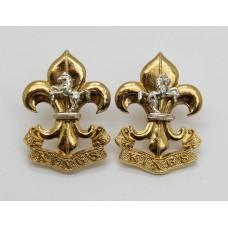 Pair of King's Regiment Bi-Metal Collar Badges