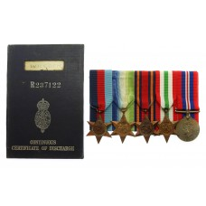 WW2 Merchant Navy Medal Group of Five with Certificate of Discharge Book - Radio Officer C.M. Wilcock, Merchant Navy