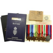 WW2 Medal Group of Five with Box of Issue and Documents - Lieut. G.M. Cravos, Royal Naval Reserve & Merchant Navy