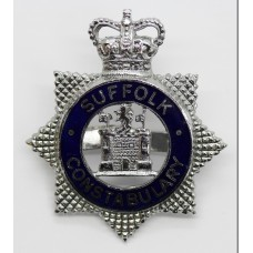 Suffolk Constabulary Senior Officer's Enamelled Cap Badge - Queen's Crown