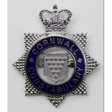 Cornwall Constabulary Senior Officer's Enamelled Cap Badge - Quee