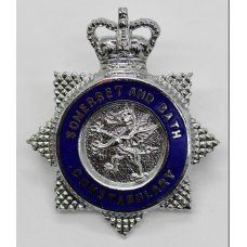 Somerset and Bath Constabulary Senior Officer's Enamelled Cap Badge - Queen's Crown