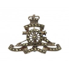 Royal Artillery Silver & Marcasite Sweetheart Brooch - Queen'
