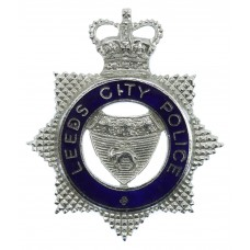 Leeds City Police Senior Officer's Enamelled Cap Badge - Queen' Crown