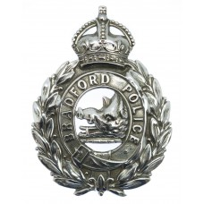 Bradford City Police Chrome Wreath Helmet Plate - King's Crown