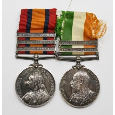 Queen's South Africa Medal (Clasps - Cape Colony, Orange Free State, Transvaal) & King's South Africa Medal (Clasps - South Africa 1901, South Africa 1902) - Tpr. T. Kiernan, City of London Imperial Volunteers & 80th (Sharpshooters) Coy. Imperial Yeomanry