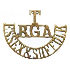 Rare Essex & Suffolk Territorials, Royal Garrison Artillery (T/R.G.A./ESSEX & SUFFOLK) Shoulder Title