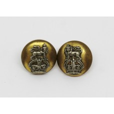 Pair of Royal Marines Officer's Mess Dress Cap Buttons - King's Crown