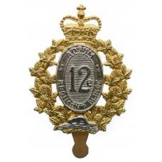 Canadian 12th Armoured Regiment of Canada Cap Badge - Queen's Crown