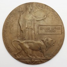 WW1 Memorial Plaque (Death Penny) - Private Edward Luther Bumford