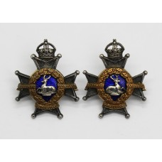 Pair of Notts & Derby Regiment (Sherwood Foresters) Officer's Dress Collar Badge - King's Crown