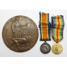 WW1 British War Medal, Victory Medal and Memorial Plaque - Pte. T