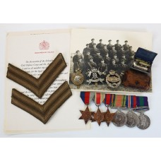 WW2 and General Service Medal (Clasp - Palestine 1945-48) Medal Group of Six - Cpl. J.E. Davis, 9th Lancers