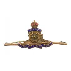 Royal Artillery Brass & Enamel Sweetheart Brooch - King's Cro