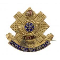 Highland Light Infantry (H.L.I.) Brass & Enamel Sweetheart Br