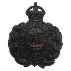 Folkestone Borough Police Wreath Helmet Plate - King's Crown