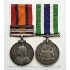 Queen's South Africa Medal (Clasps - Cape Colony, South Africa 1902) & South Africa Police Good Service Medal - Tpr. Labuschagne, Cape Colonial Forces