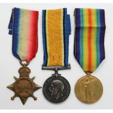 WW1 1914-15 Star Medal Trio - Pte. A.D. Clayton, 13th (4th Hull Pals) (Hull T'Others) Bn. East Yorkshire Regiment