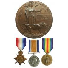 WW1 1914 Mons Star Medal Trio and Memorial Plaque - Cpl. T.P. Cho