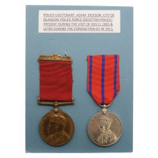 1903 and 1911 Scottish Police Medal Pair - Lieut. Adam Dickson, City of Glasgow Police